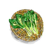 ザルと小松菜