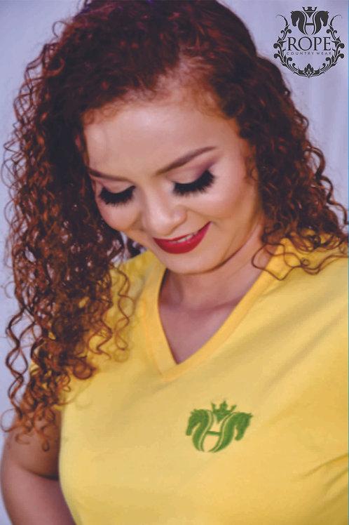 T-shirt bordada - Ouro