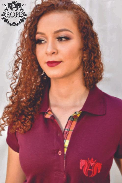 Camisa Polo Feminina - Bordo