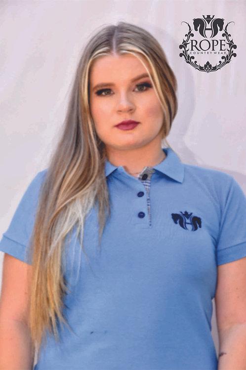 Camisa Polo Feminina  - Azul Celeste