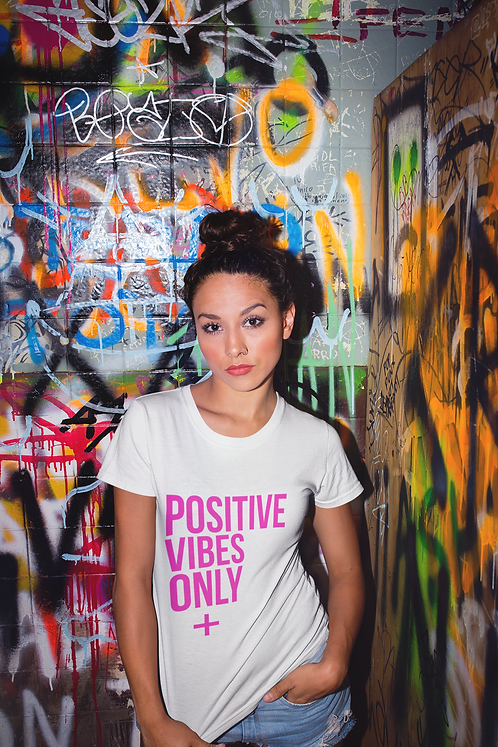 Positive Vibes Only Tee (Hot Pink | White)