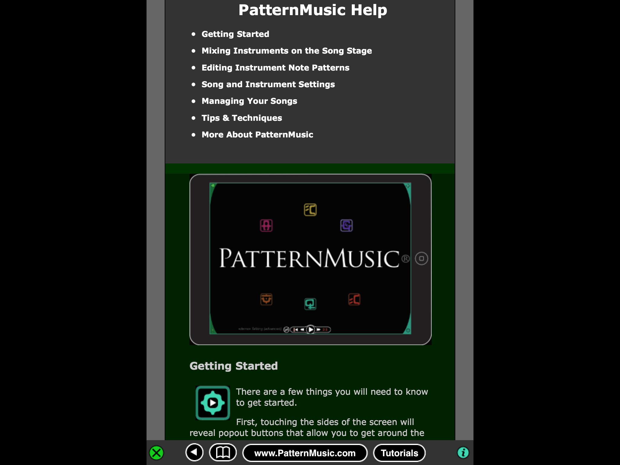 PatternMusic app help panel
