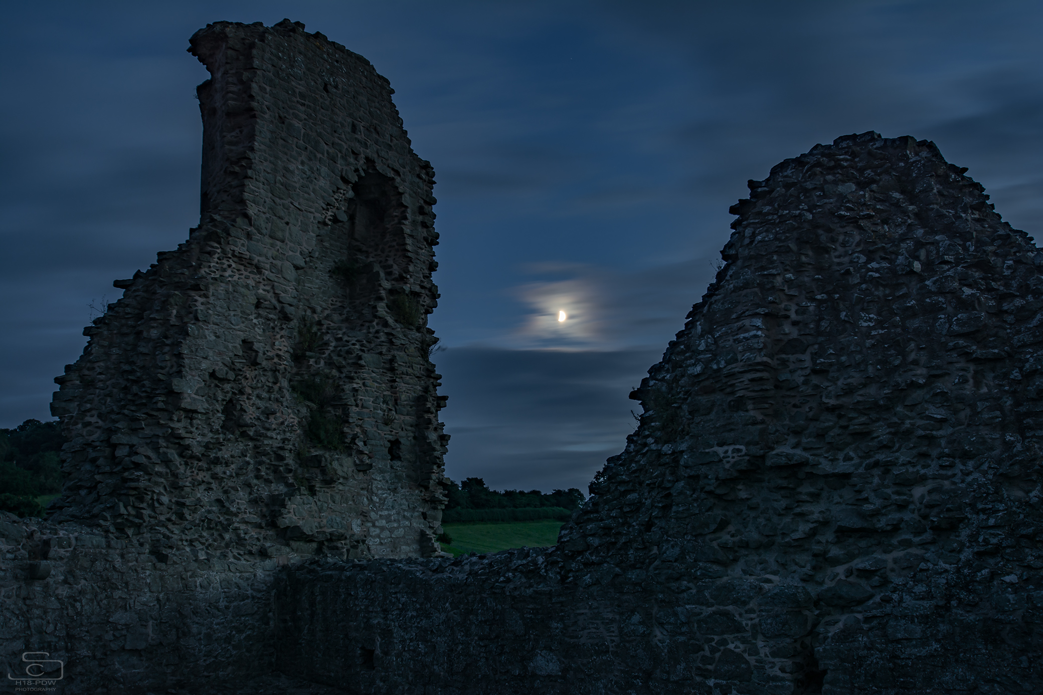 Montgomery Castle moon shot.