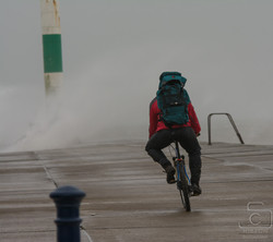 Man And His Bike Aberystwyth Jetty