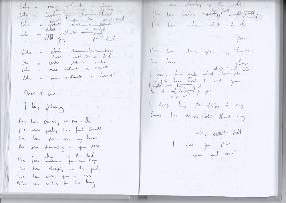 Notebook with lyrics to 'Falling'