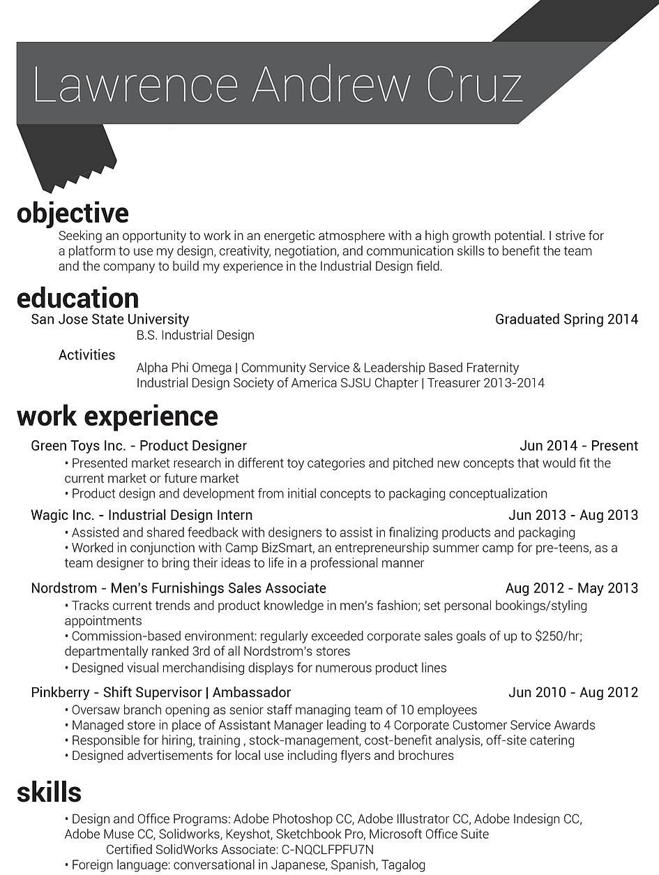 lawrenceportfolio resume industrial designer