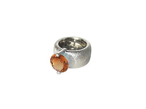 AN8581B-Q-CO-Rhodium & Cognac Quartz 12mm Rnd-Band Ring