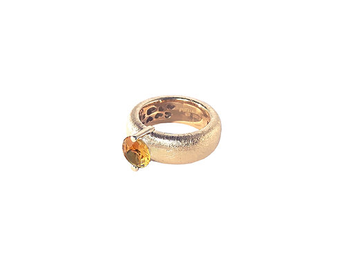 AN8583R-Q-CO-Golden Rose & Cognac Quartz  8mm  Rnd-Band Ring