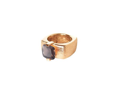 AN8592R-Q-FU-Golden Rose & Smoky Quartz 10mm  Sqrd-Band Ring