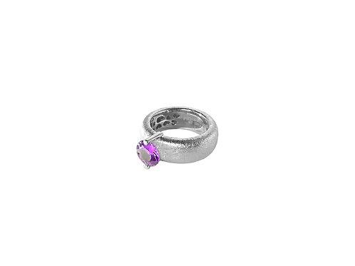 AN8583B-Q-VI-Rhodium & Violet Quartz  8mm  Rnd-Band Ring