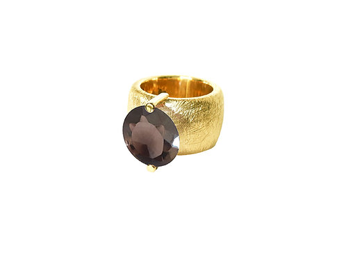 AN8580G-Q-FU-Gold & Smoky Quartz 14mm Rnd-Band Ring