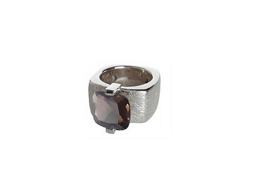 AN8591B-Q-FU-Rhodium & Smoky Quartz 12mm  Sqrd-Band Ring