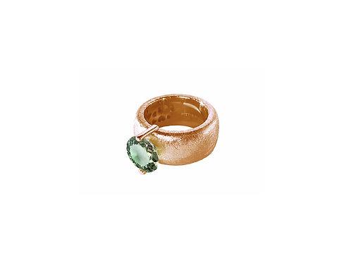 AN8582R-Q-VE-Golden Rose & Green Quartz  10mm  Rnd-Band Ring