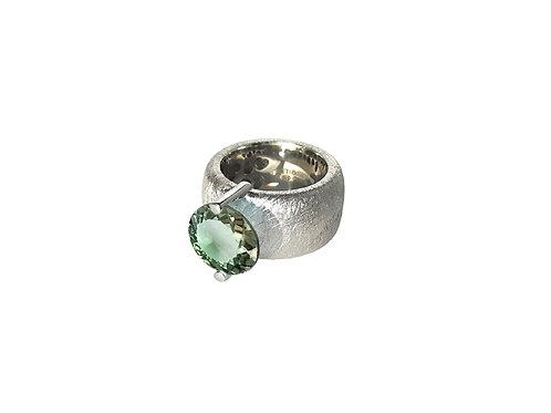 AN8581B-Q-VE-Rhodium & Green Quartz 12mm Rnd-Band Ring