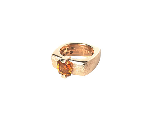 AN8593R-Q-CO-Golden Rose & Cognac Quartz  8mm  Sqrd-Band Ring