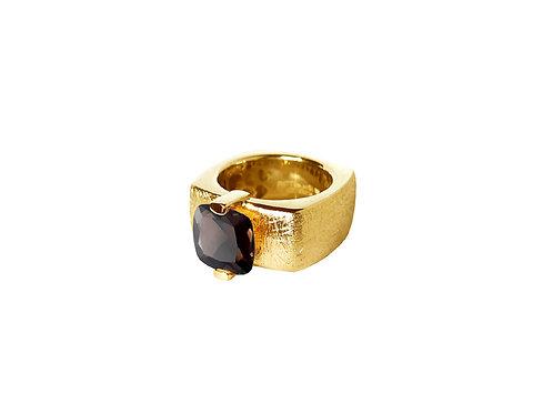 AN8592G-Q-FU-Gold & Smoky Quartz 10mm  Sqrd-Band Ring