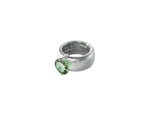 AN8582B-Q-VE-Rhodium & Green Quartz  10mm  Rnd-Band Ring