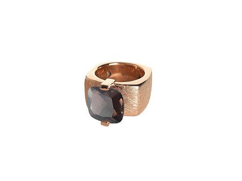 AN8591R-Q-FU-Golden Rose & Smoky Quartz 12mm  Sqrd-Band Ring