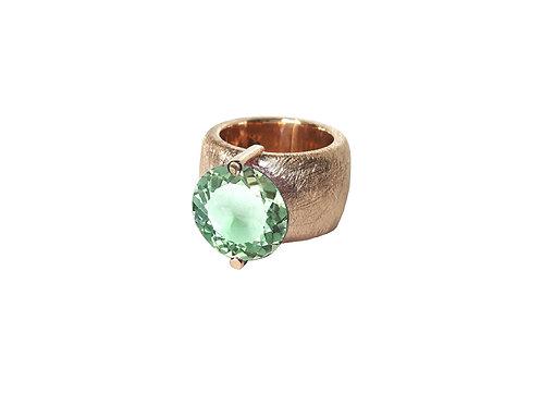 AN8580R-Q-VE-Golden Rose & Green Quartz 14mm Rnd-Band Ring