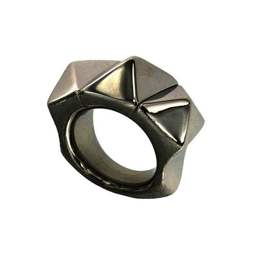 AN6643N-Black silver Ring Studio 54 Collection