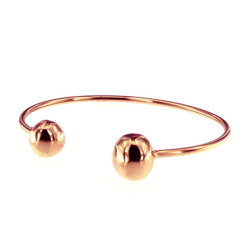 BR8554R  Golden Rosè Open Ball Bangle