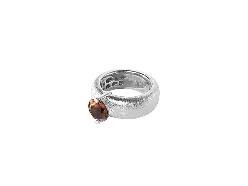 AN8583B-Q-FU-Rhodium &Smoky Quartz  8mm  Rnd-Band Ring