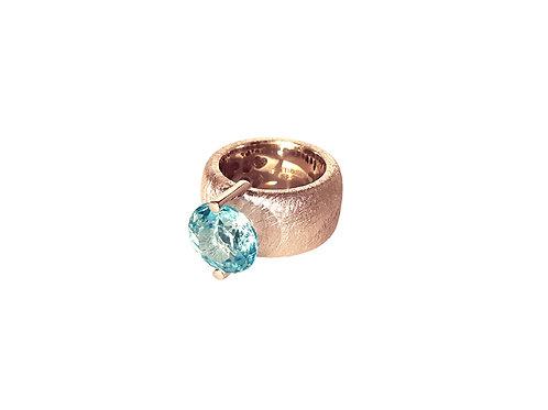 AN8581R-Topaz-Golden Rose & Nat/Blu Topaz 12mm Rnd-Band Ring