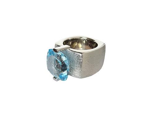 AN8590B-Topaz-Rhodium & Nat/Blu Topaz - 14mm  Sqrd-Band Ring