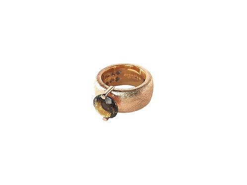 AN8582R-Q-FU-Golden Rose & Smoky Quartz  10mm  Rnd-Band Ring