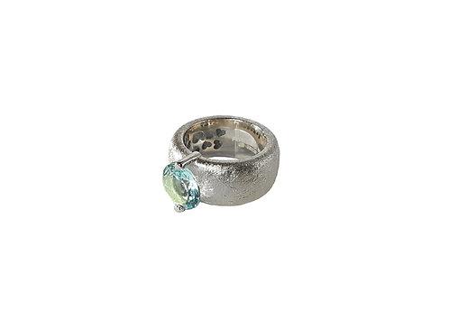 AN8582B-Topaz-Rhodium & Nat/Blu Topaz  10mm  Rnd-Band Ring