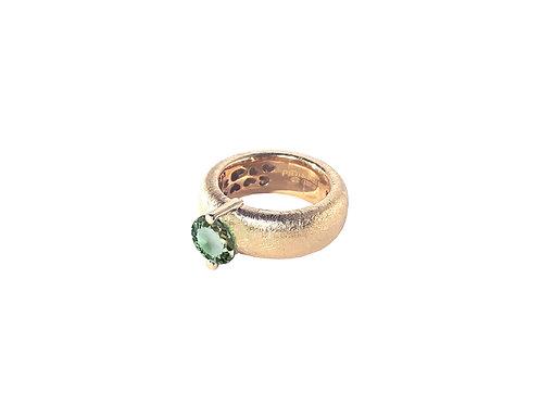 AN8583R-Q-VE-Golden Rose & Green Quartz  8mm  Rnd-Band Ring