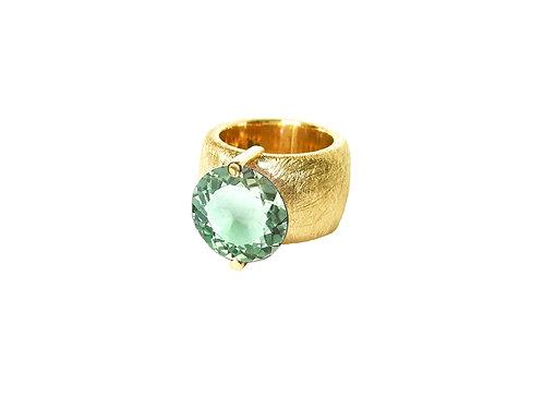 AN8580G-Q-VE-Gold & Green Quartz 14mm Rnd-Band Ring