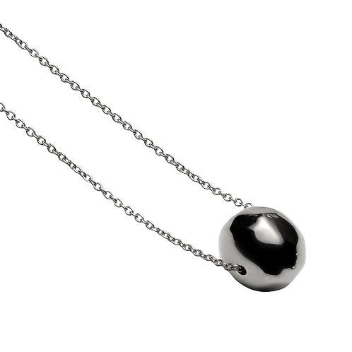 CL9117B  Rhodium Silver Ball Necklace