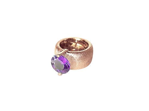 AN8581R-Q-VI-Golden Rose & Violet Quartz 12mm Rnd-Band Ring