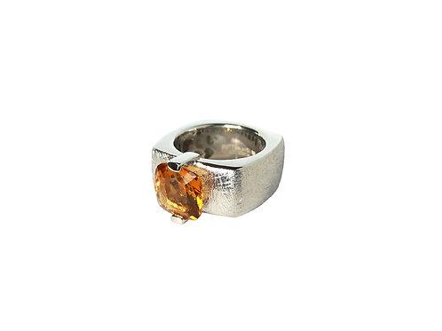 AN8592B-Q-CO-Rhodium & Smoky Quartz 10mm  Sqrd-Band Ring