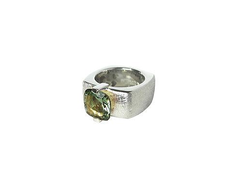 AN8592B-Q-VE-Rhodium & Green Quartz 10mm  Sqrd-Band Ring