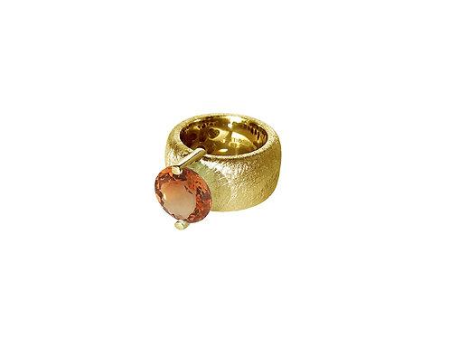 AN8581G-Q-CO-Gold & Cognac Quartz 12mm Rnd-Band Ring