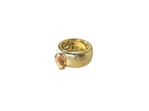 AN8582G-Q-CO-Gold & Cognac Quartz  10mm  Rnd-Band Ring
