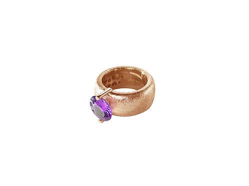 AN8582R-Q-VI-Golden Rose & Violet Quartz  10mm  Rnd-Band Ring