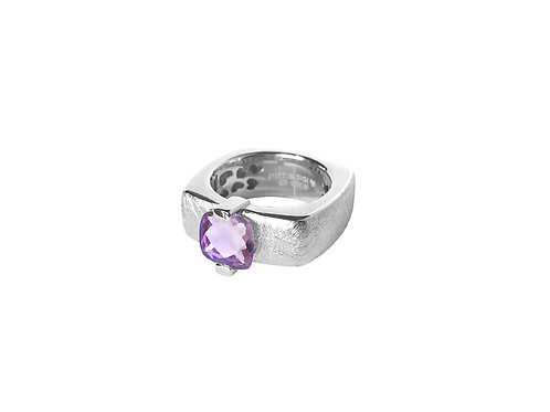 AN8593B-Q-VI-Rhodium & Violet Quartz  8mm  Sqrd-Band Ring