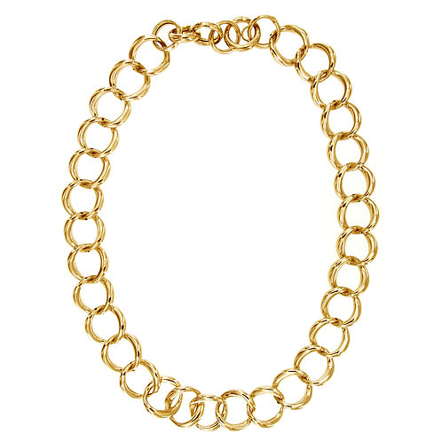 CL9254G Golden Silver Chain Neclace