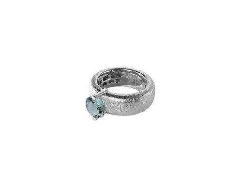 AN8583B-Topaz-Rhodium & Nat/Blu Topaz  8mm  Rnd-Band Ring