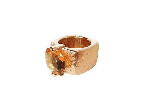 AN8590R-Q-CO-Golden Rose & Cognac Quartz 14mm  Sqrd-Band Ring