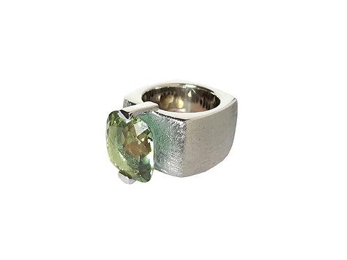 AN8590B-Q-VE-Rhodium & Green Quartz 14mm  Sqrd-Band Ring