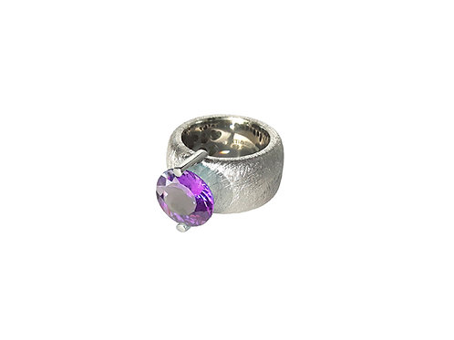 AN8581B-Q-VI-Rhodium & Violet Quartz 12mm Rnd-Band Ring