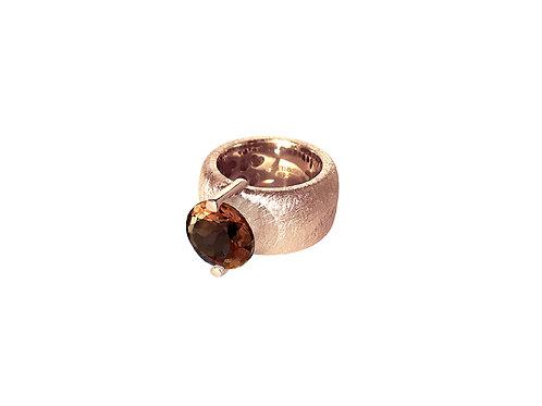 AN8581R-Q-FU-Golden Rose & Smoky Quartz 12mm Rnd-Band Ring