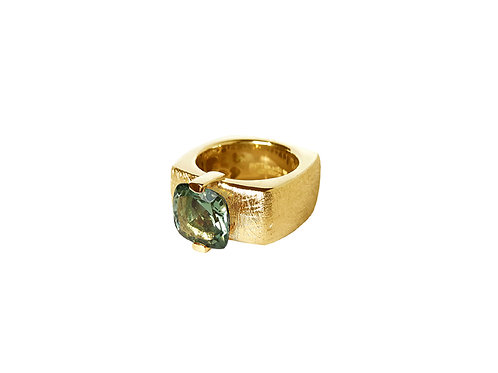 AN8592G-Q-VE-Gold & Green Quartz 10mm  Sqrd-Band Ring