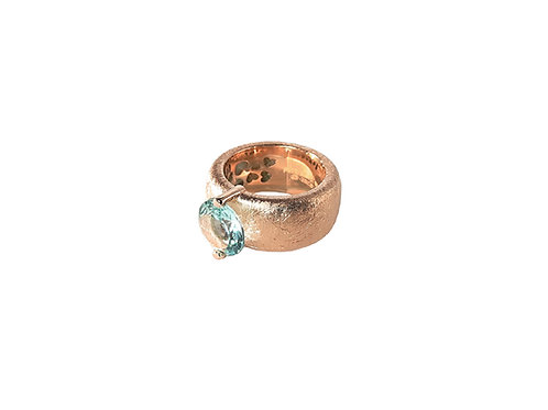 AN8582R-Topaz-Golden Rose & Nat/Blu Topaz  10mm  Rnd-Band Ring