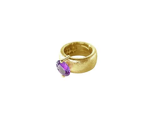 AN8582G-Q-VI-Gold & Violet Quartz  10mm  Rnd-Band Ring