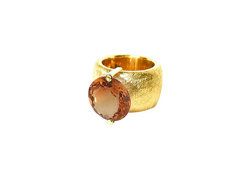 AN8580G-Q-CO-Gold & Cognac Quartz 14mm Rnd-Band Ring